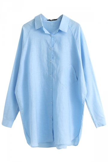 Blue Plain Long Sleeve Loose Fashion Ladies Blouse