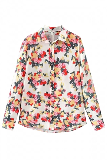 Red Floral Print Turndown Collar Elegant Ladies Blouse
