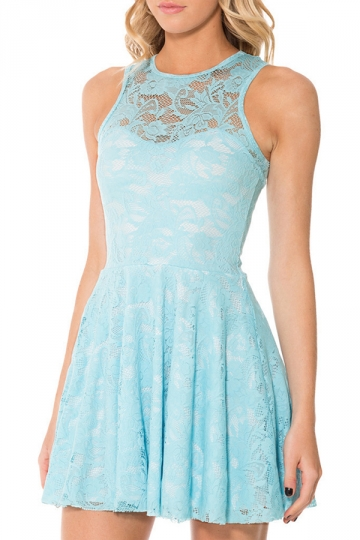 Blue Lace Cut Out Sleeveless Cute Womens Skate Dress