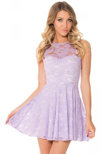 Purple Lace Cut Out Sleeveless Cute Womens Skate Dress