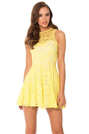 Yellow Lace Cut Out Sleeveless Cute Womens Skate Dress