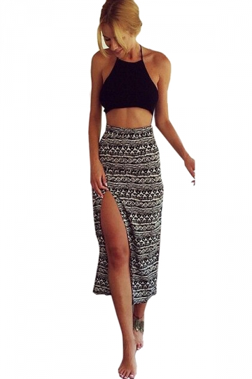 Black Halter Backless Sleeveless Crop Top & Slit Ladies Midi Skirt Set