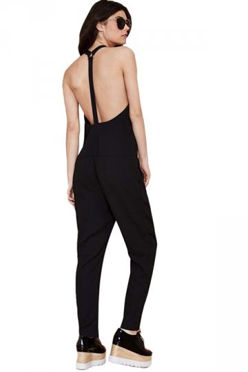 Black Halter Backless Sleeveless Loose Womens Jumpsuit