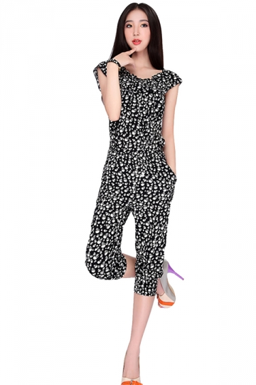 Black Skull Printed 3/4 Length Cowl Neck Womens Jumpsuit