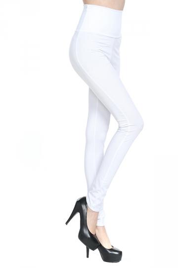 White Plain High Waisted Slim Womens Leggings
