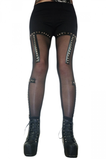 Sexy Punk See Through Rivet Decroted Leggings Black