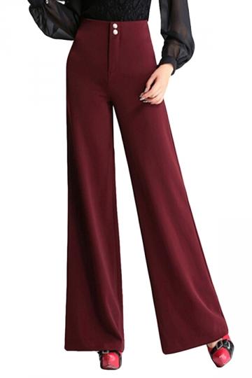 Ruby High Waist Buttons Bell Bottom Womens Leisure Pants
