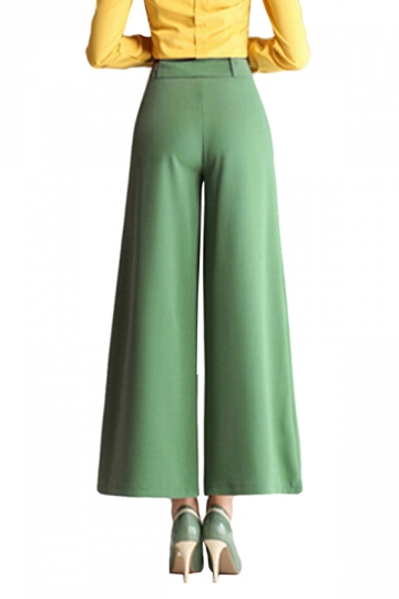 Green White High Wasit Bell Bottom Womens Leisure Palazzo Crop Pants