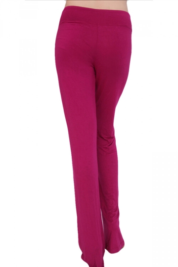 Rose Red Drawstring High Waist  Bell Bottom Ladies Leisure Pants