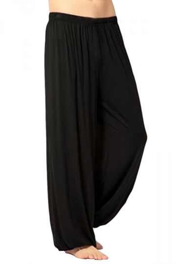 Black Plain Loose Puff Womens Leisure Pants
