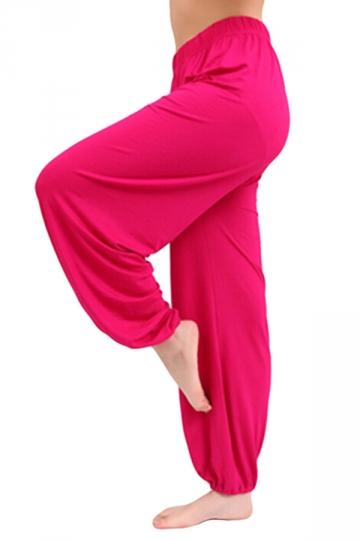 Rose Red Puff Plain Loose Ladies Fashion Leisure Pants