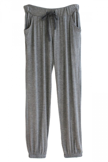 Gray Drawstring Double Pockets Ankle Tied Womens Leisure Pants