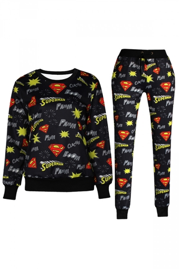 Black 3D Superman Printed Pullover Sweatshirt Pants Suit