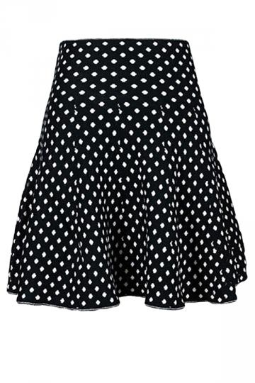 Black Ladies Cute Polka Dot Classic Pleated Skirt