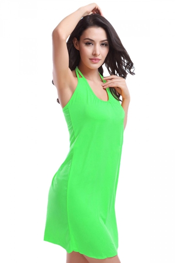 Green Ladies Sexy Halter Plain Summer Chic Beach Dress
