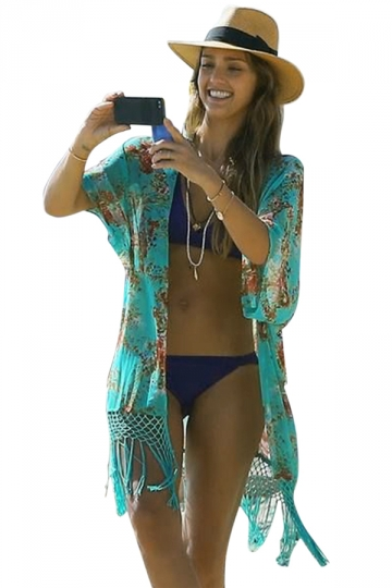 Green Womens Sexy Floral Chic Beach Cover-Up