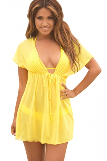 Yellow Sexy Womens Sheer Mesh Summer Chic Beach Dress