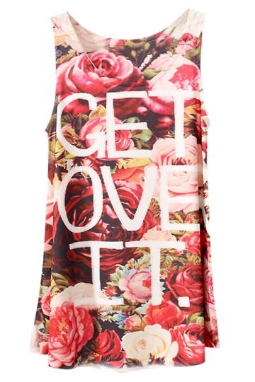 Red Rose Letter Printed Fashion Sleeveless Ladies Tank Top