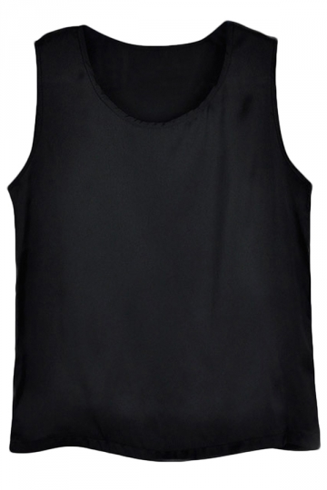 Pure Black Black Ladies Polyester Fiber Sleeveless Loose Camisole Tops