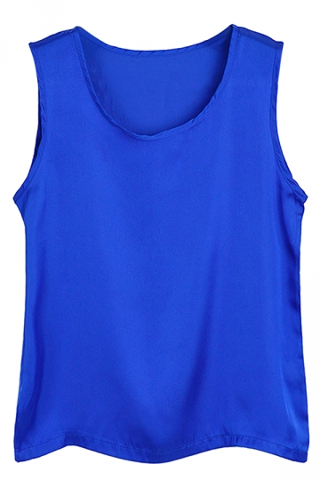 Pure Navy Blue Ladies Polyester Fiber Sleeveless Loose Camisole Tops