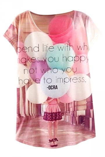 Pink Colorful Balloon Printed Ladies Cute T Shirt