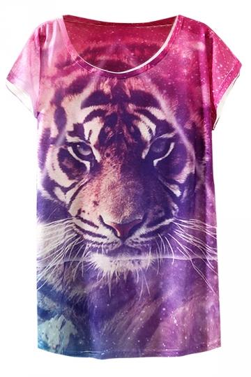 Rose Red Bat Sleeve Purple Tiger Printed Fashion Ladies T Shirt