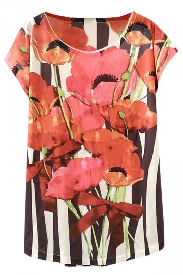 Red Ladies Fashion Flowers Printed Stripe Loose Tee Shirt