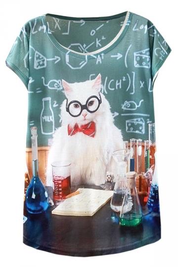 Green Cute 3D Cat Printed Loose Short Sleeve T Shirt