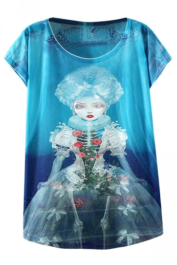 Blue Skull Doll Printed Womens Funny T Shirt