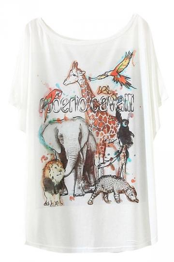 White Womens Cute Zoo Printed Funny T Shirt