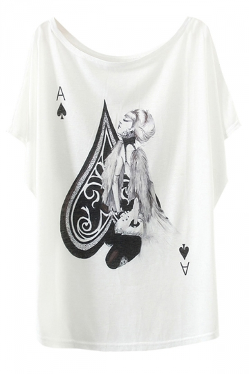 White Poker Beauty Printed Womens Funny Loose T Shirt