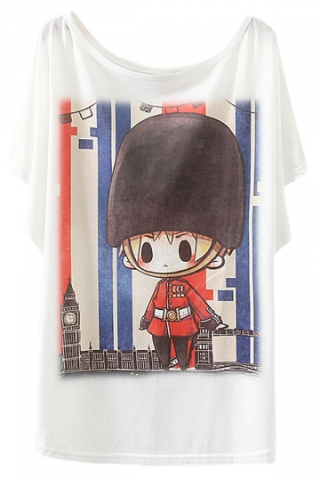 White Cartoon Soldier Womens Cute Batwing Sleeve T Shirt