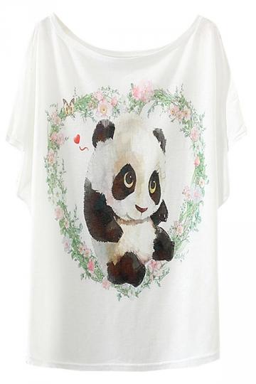 White Cute Panda Printed Ladies Loose Chic Tee Shirt