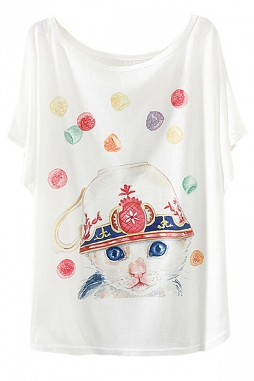 White Ladies Candy Cat Printed Funny Batwing Sleeve T Shirt