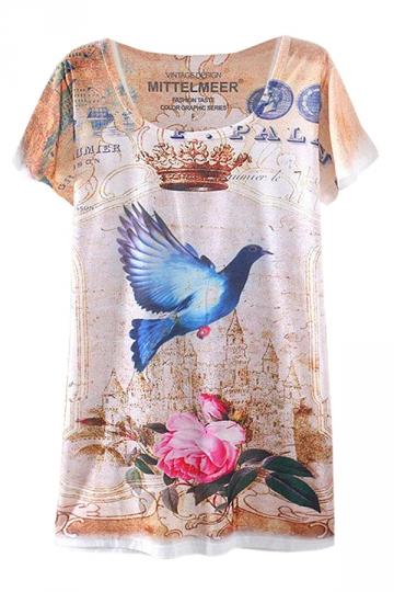 Beige Peace Dove Printed Ladies Short Sleeve Tee Shirt