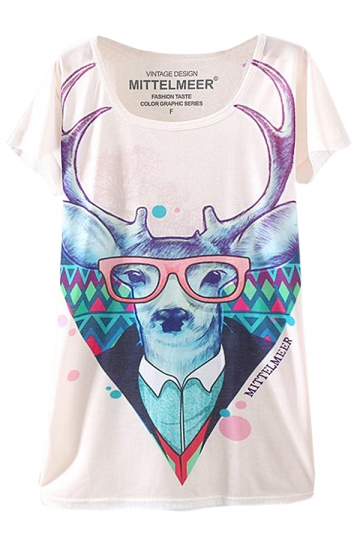 Beige Glass Deer Printed Ladies Funny Loose Tee Shirt