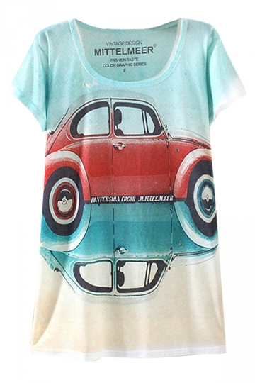 Turquoise Ladies Cute Beatles Loose Short Sleeve T Shirt