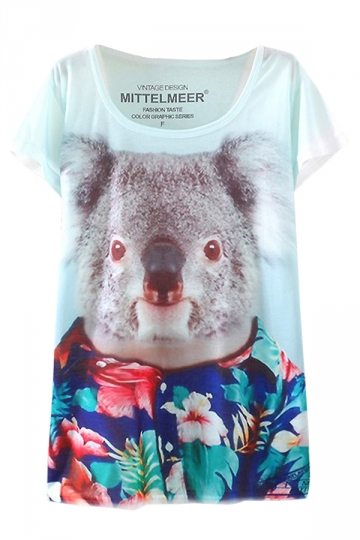 Blue 3D Floral Koala Printed Ladies Loose Chic T Shirt