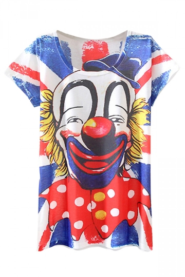 Blue Fashion 3D Clown Printed Funny Ladies Tee Shirt