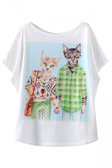 White Fashion Cat Couple Printed Womens Funny Tee Shirt
