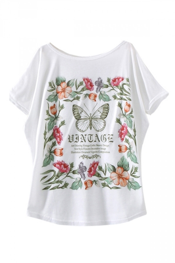 White Garland Butterfly Printed Casual Ladies T Shirt