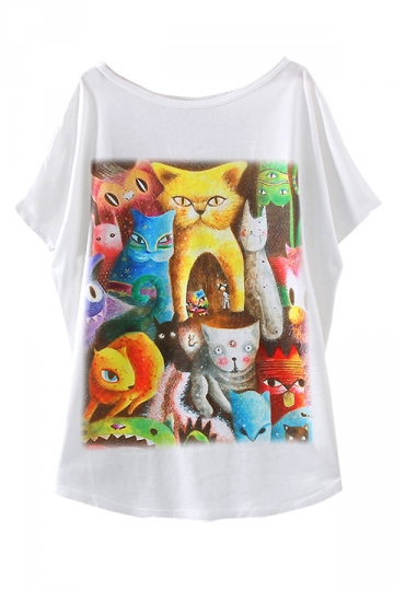 White Cat Toy Printed Funny Loose Womens T Shirt