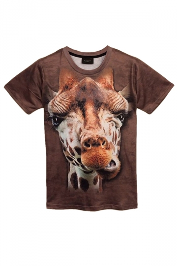 Brown Giraffe Printed Funny Short Sleeve Womens T Shirt