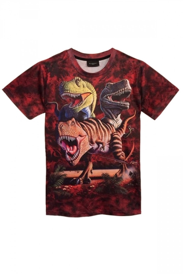 Ruby Dinosaurs Printed Vintage Short Sleeve Womens T Shirt