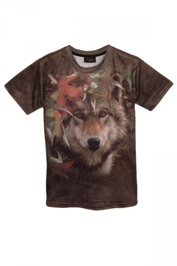 Coffee Wolf Printed Crew Neck Casual Womens T Shirt