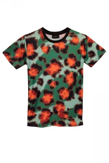 Green Ink Dot Printed Casual Short Sleeve Womens T Shirt