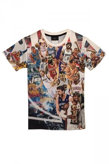 Black Basketball Stars Printed Vintage Ladies Casual T Shirt