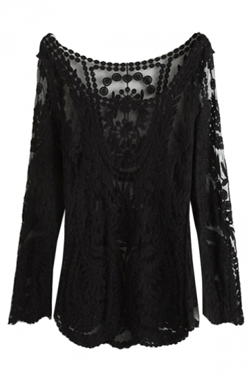 Black Ladies Long Sleeve See Through Lace T Shirt