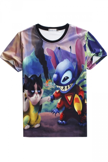 T Shirt 3D Cat and Stitch Printed Funny Womens Blue