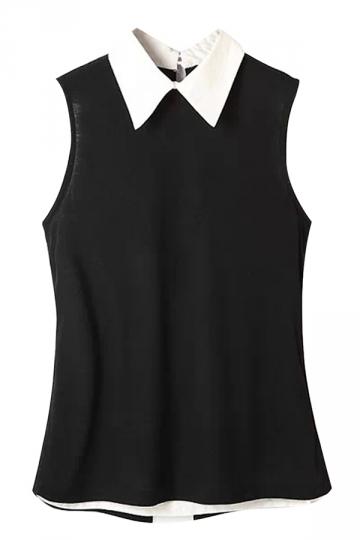 Black Ladies Turndown Collar Back Slit Blouses